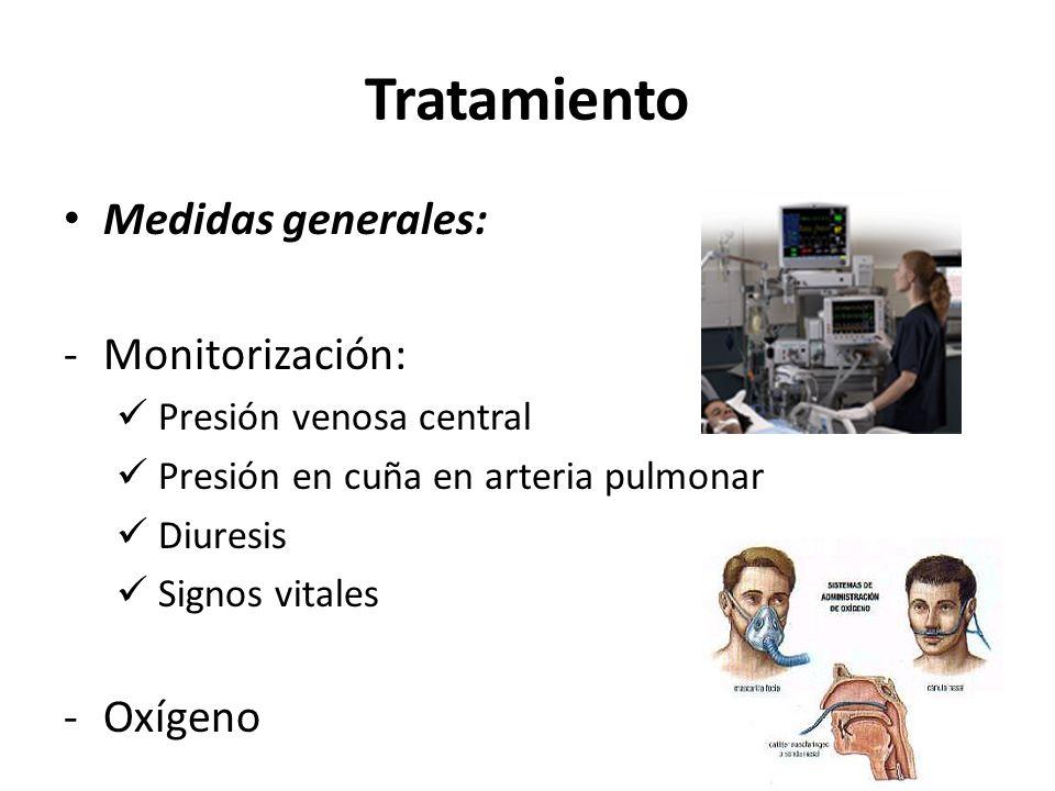 Tratamiento Medidas generales: -Monitorización: Presión venosa central Presión en cuña en arteria pulmonar Diuresis Signos vitales -Oxígeno