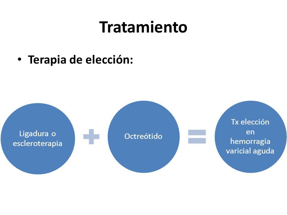 Tratamiento Terapia de elección: Ligadura o escleroterapia Octreótido Tx elección en hemorragia varicial aguda