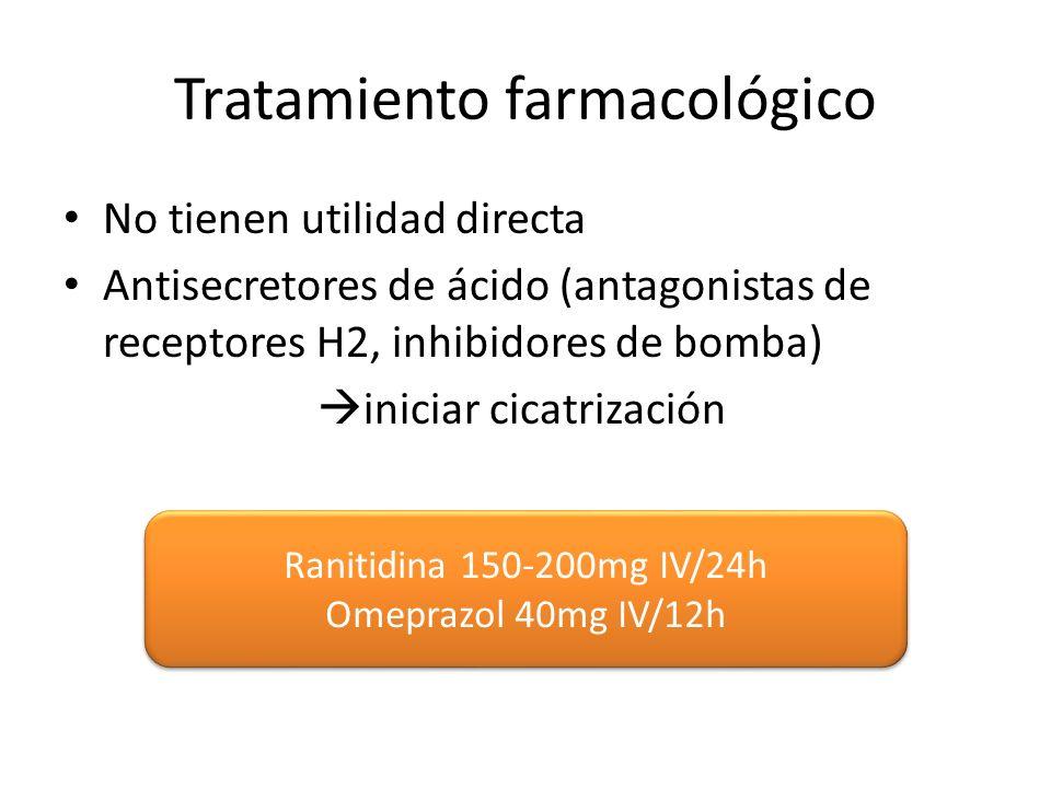 Tratamiento farmacológico No tienen utilidad directa Antisecretores de ácido (antagonistas de receptores H2, inhibidores de bomba) iniciar cicatrización Ranitidina 150-200mg IV/24h Omeprazol 40mg IV/12h Ranitidina 150-200mg IV/24h Omeprazol 40mg IV/12h