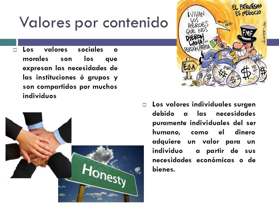 Valores por contenido Los valores sociales o morales son los que expresan las necesidades de las instituciones ò grupos y son compartidos por muchos i