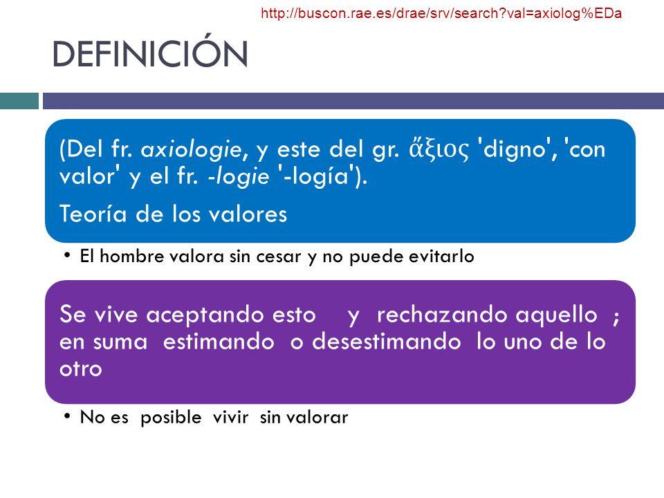 DEFINICIÓN (Del fr. axiologie, y este del gr. ξιος 'digno', 'con valor' y el fr. -logie '-logía'). Teoría de los valores El hombre valora sin cesar y