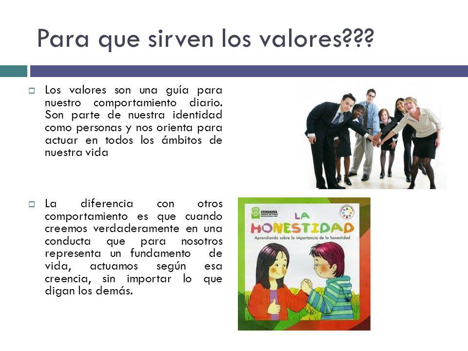 Para que sirven los valores??? Los valores son una guía para nuestro comportamiento diario. Son parte de nuestra identidad como personas y nos orienta