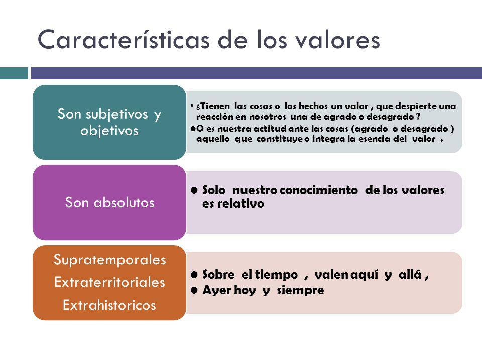 Características de los valores ¿ Tienen las cosas o los hechos un valor, que despierte una reacción en nosotros una de agrado o desagrado ? O es nuest