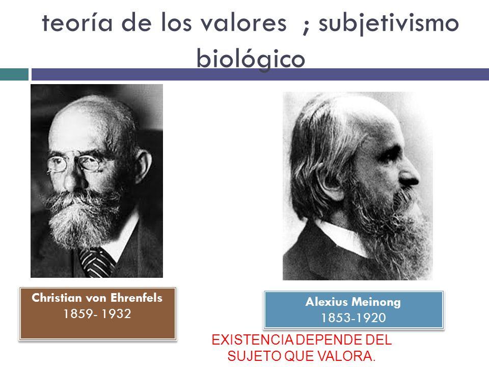 teoría de los valores ; subjetivismo biológico Christian von Ehrenfels 1859- 1932 Christian von Ehrenfels 1859- 1932 Alexius Meinong 1853-1920 Alexius