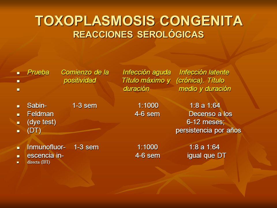 TOXOPLASMOSIS CONGENITA REACCIONES SEROLÓGICAS Prueba Comienzo de la Infección aguda Infección latente Prueba Comienzo de la Infección aguda Infección