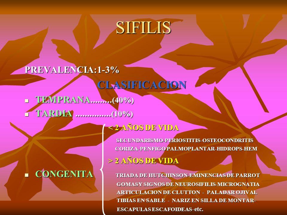 SIFILIS PREVALENCIA:1-3% CLASIFICACION CLASIFICACION TEMPRANA......... (40%) TEMPRANA......... (40%) TARDIA............... (10%) TARDIA...............