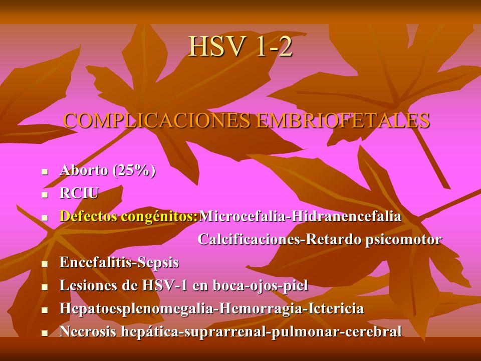 HSV 1-2 COMPLICACIONES EMBRIOFETALES COMPLICACIONES EMBRIOFETALES Aborto (25%) Aborto (25%) RCIU RCIU Defectos congénitos:Microcefalia-Hidranencefalia