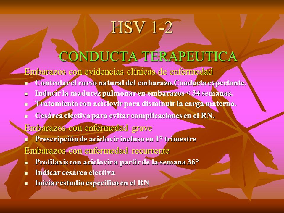HSV 1-2 CONDUCTA TERAPEUTICA CONDUCTA TERAPEUTICA Embarazos con evidencias clínicas de enfermedad Controlar el curso natural del embarazo.Conducta exp