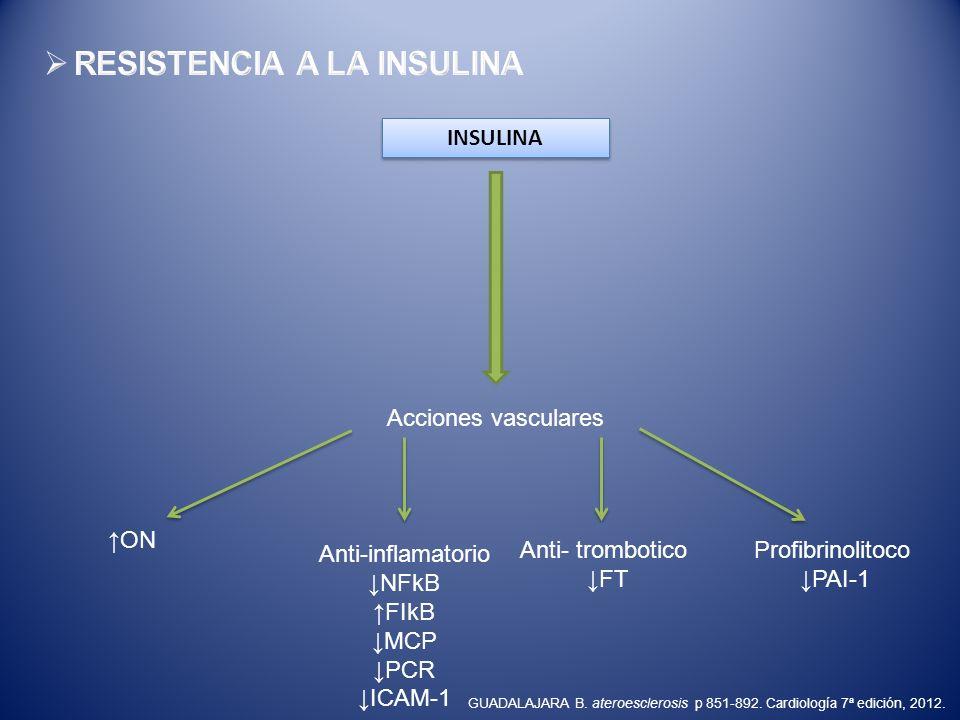 INSULINA Acciones vasculares ON Anti-inflamatorio NFkB FIkB MCP PCR ICAM-1 Anti- trombotico FT Profibrinolitoco PAI-1 GUADALAJARA B. ateroesclerosis p
