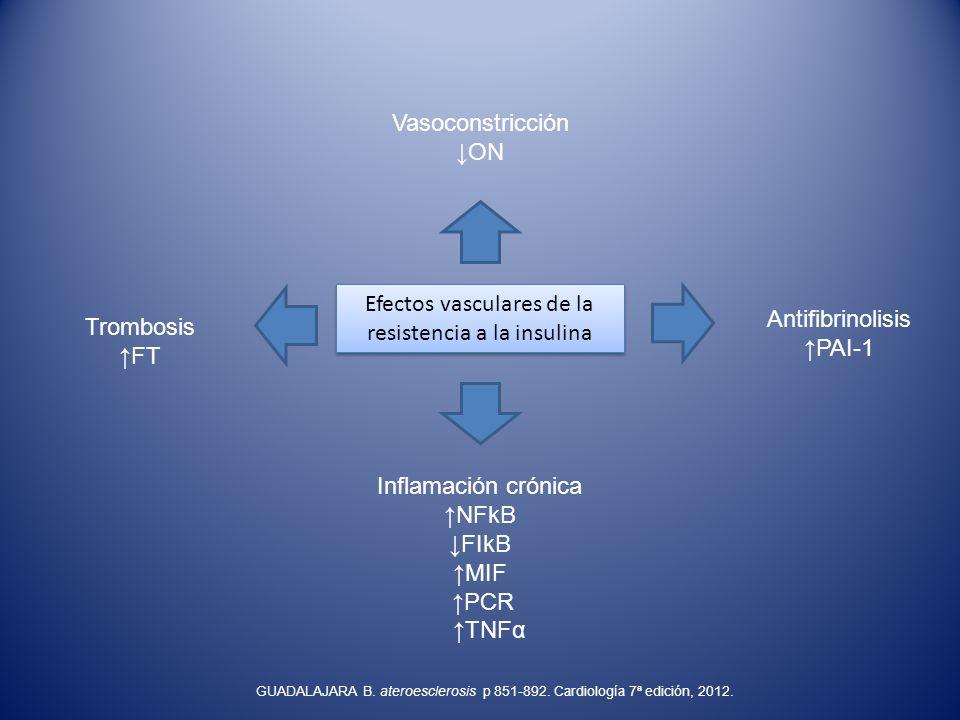 Efectos vasculares de la resistencia a la insulina Vasoconstricción ON Inflamación crónica NFkB FIkB MIF PCR TNFα Trombosis FT Antifibrinolisis PAI-1