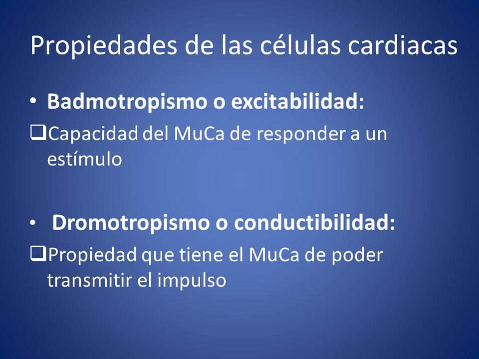 Propiedades de las células cardiacas Badmotropismo o excitabilidad: Capacidad del MuCa de responder a un estímulo Dromotropismo o conductibilidad: Pro