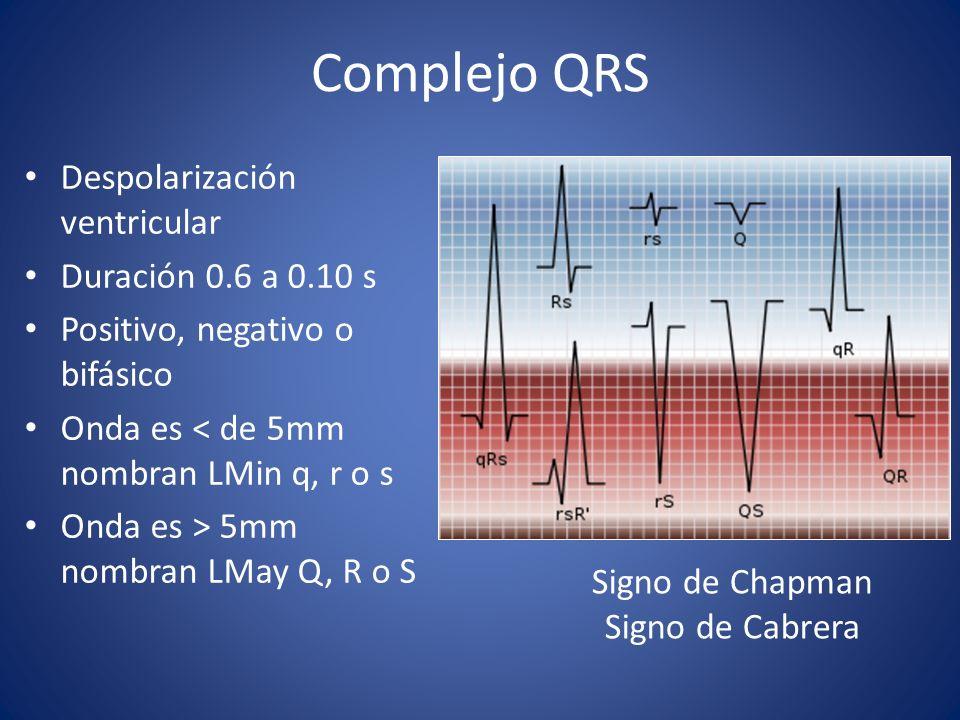 Complejo QRS Despolarización ventricular Duración 0.6 a 0.10 s Positivo, negativo o bifásico Onda es < de 5mm nombran LMin q, r o s Onda es > 5mm nomb