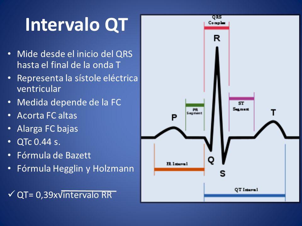 Intervalo QT Mide desde el inicio del QRS hasta el final de la onda T Representa la sístole eléctrica ventricular Medida depende de la FC Acorta FC al