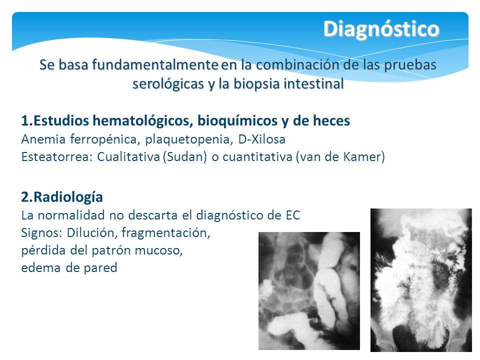 Diagnóstico Se basa fundamentalmente en la combinación de las pruebas serológicas y la biopsia intestinal 1.Estudios hematológicos, bioquímicos y de h