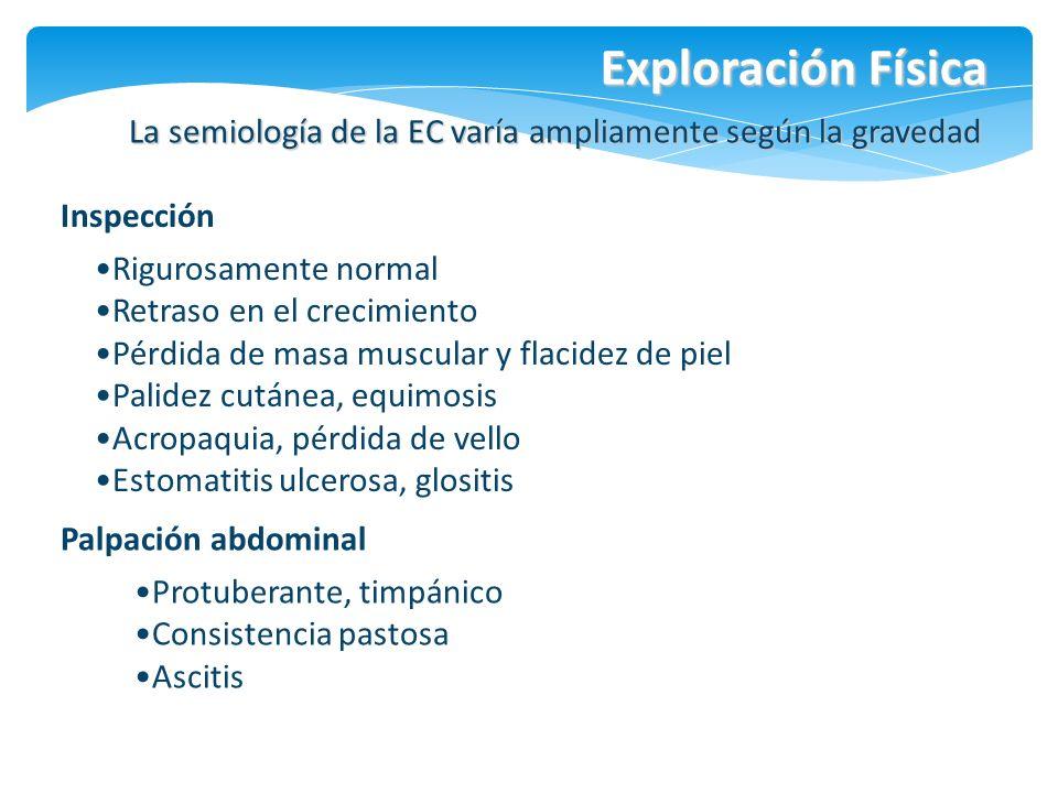 Exploración Física La semiología de la EC varía ampliamente según la gravedad Rigurosamente normal Retraso en el crecimiento Pérdida de masa muscular