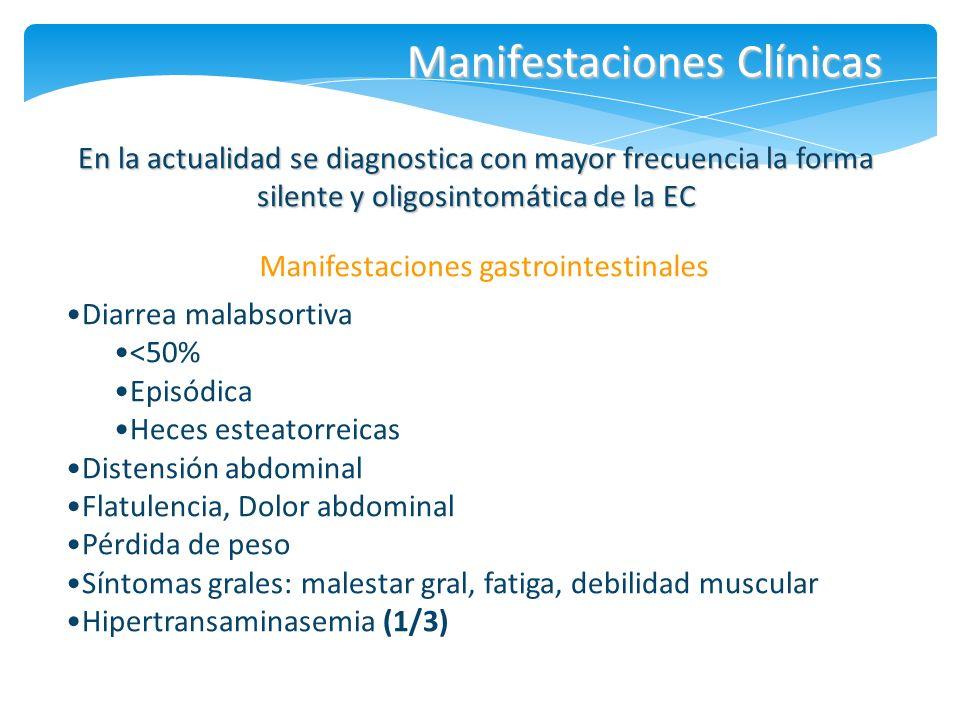 Manifestaciones Clínicas Manifestaciones gastrointestinales En la actualidad se diagnostica con mayor frecuencia la forma silente y oligosintomática d