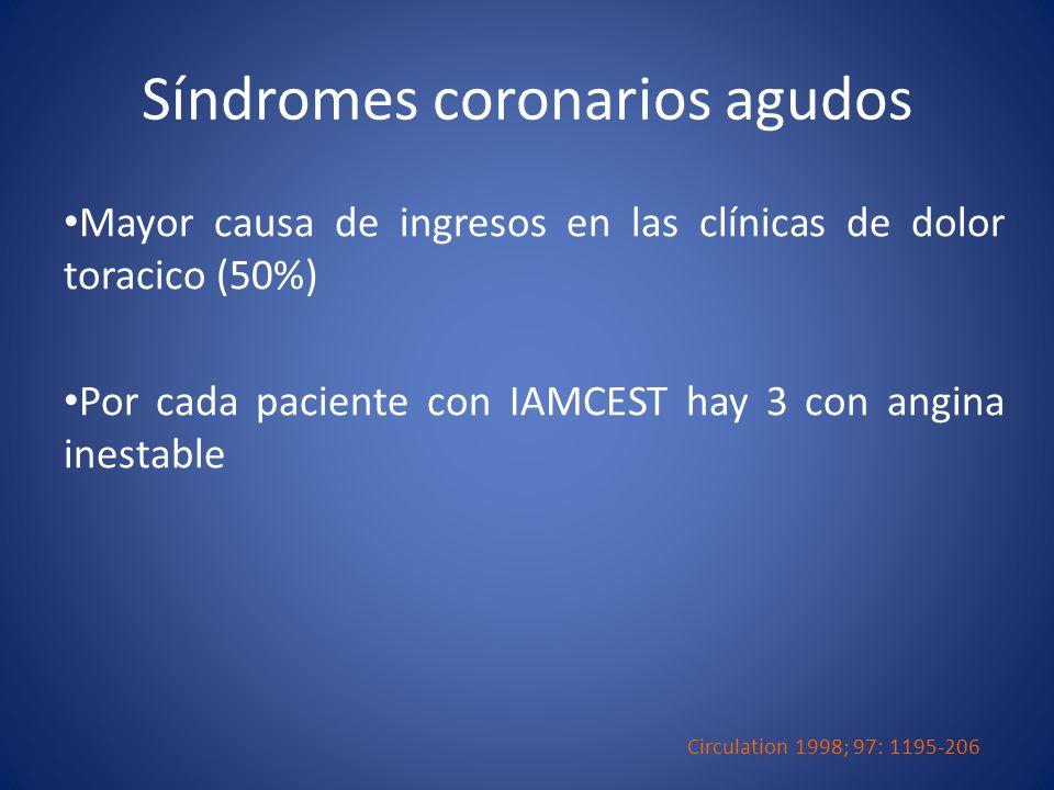 Síndromes coronarios agudos Mayor causa de ingresos en las clínicas de dolor toracico (50%) Por cada paciente con IAMCEST hay 3 con angina inestable C