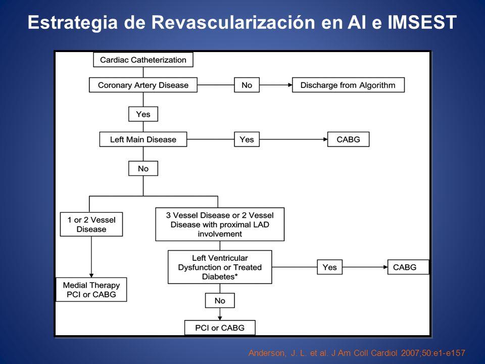 Anderson, J. L. et al. J Am Coll Cardiol 2007;50:e1-e157 Estrategia de Revascularización en AI e IMSEST