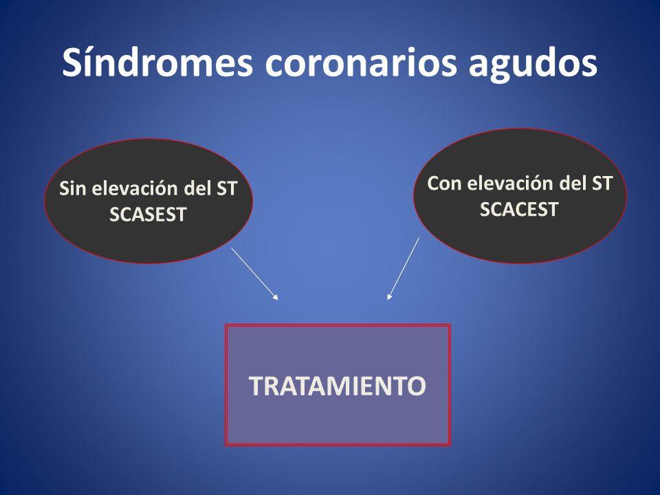 Síndromes coronarios agudos Sin elevación del ST SCASEST Con elevación del ST SCACEST TRATAMIENTO