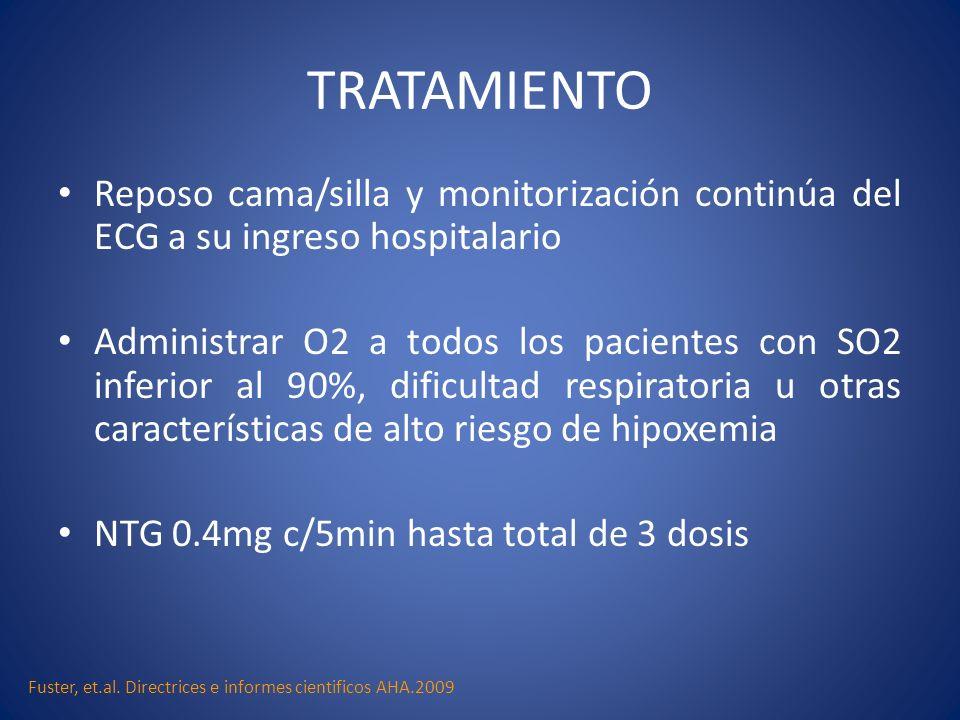 TRATAMIENTO Reposo cama/silla y monitorización continúa del ECG a su ingreso hospitalario Administrar O2 a todos los pacientes con SO2 inferior al 90%