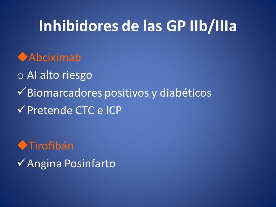 Inhibidores de las GP IIb/IIIa Abciximab o AI alto riesgo Biomarcadores positivos y diabéticos Pretende CTC e ICP Tirofibán Angina Posinfarto