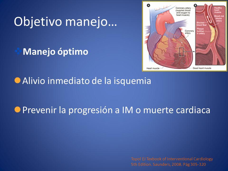 Objetivo manejo… Manejo óptimo Alivio inmediato de la isquemia Prevenir la progresión a IM o muerte cardiaca Topol EJ Texbook of Interventional Cardio