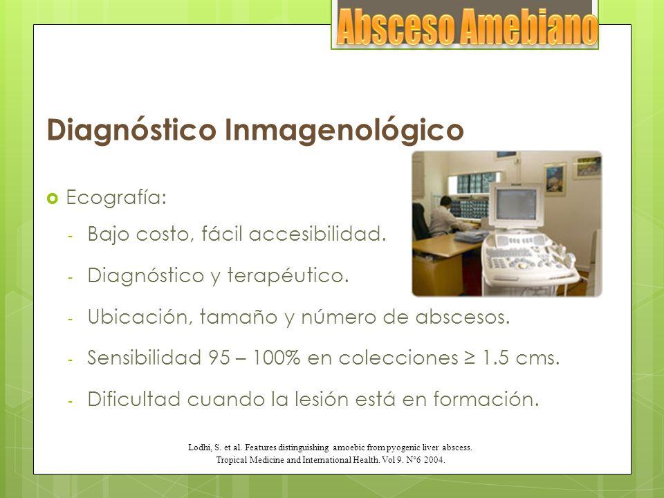 Diagnóstico Inmagenológico Ecografía: - Bajo costo, fácil accesibilidad. - Diagnóstico y terapéutico. - Ubicación, tamaño y número de abscesos. - Sens