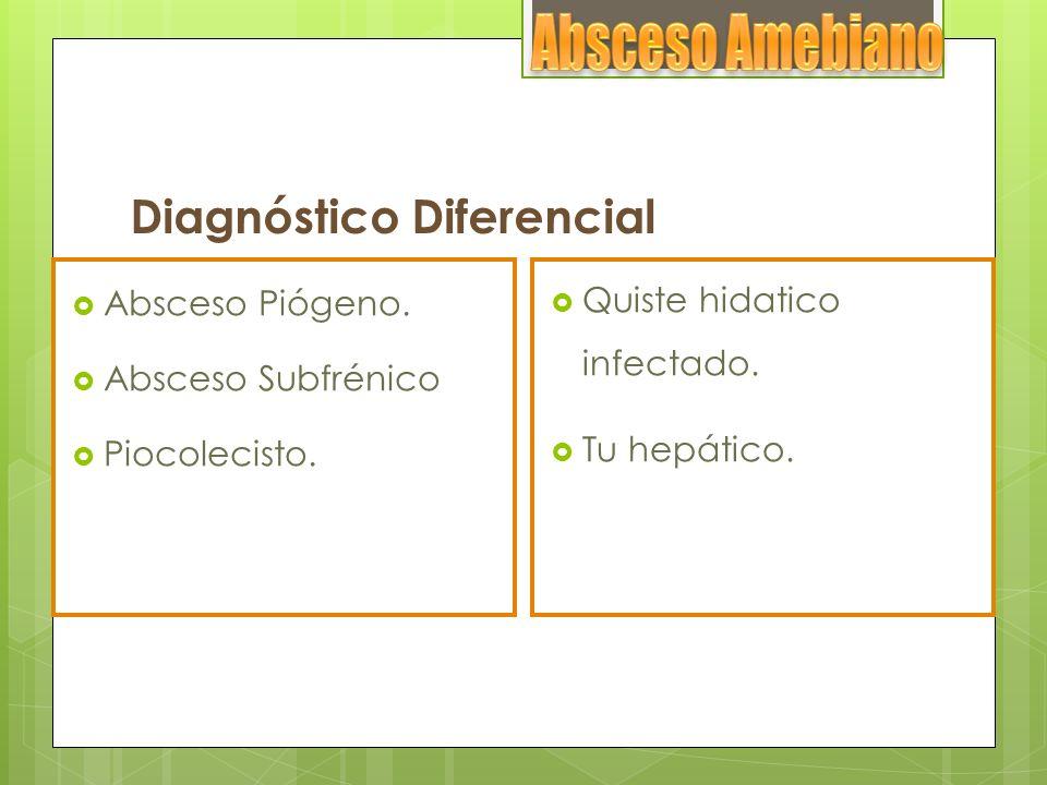 Diagnóstico Diferencial Absceso Piógeno. Absceso Subfrénico Piocolecisto. Quiste hidatico infectado. Tu hepático.