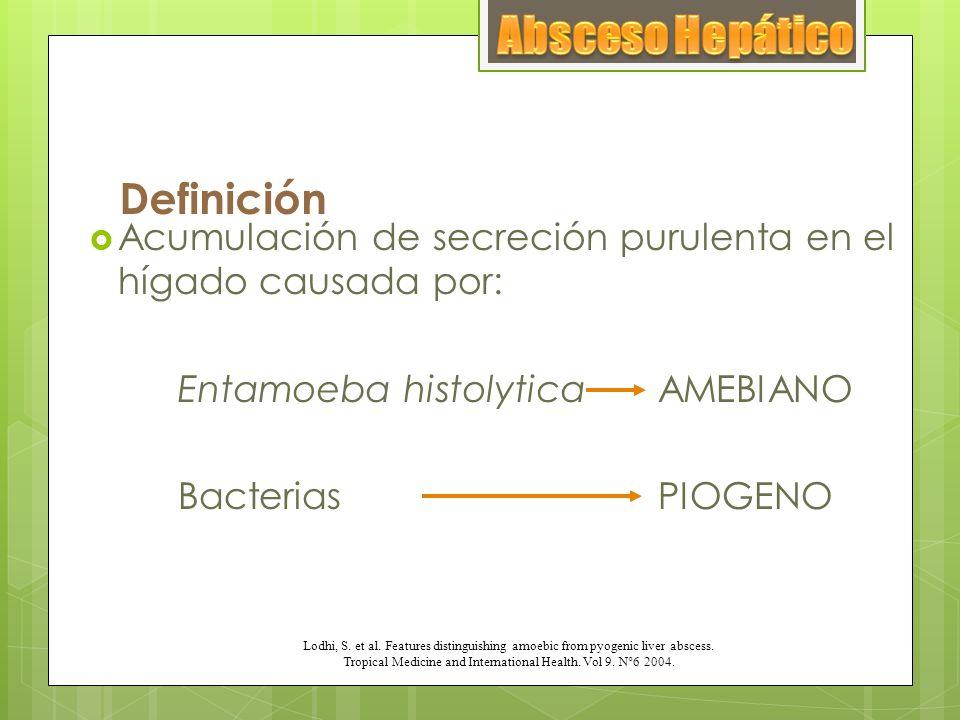 Definición Acumulación de secreción purulenta en el hígado causada por: Entamoeba histolytica AMEBIANO BacteriasPIOGENO Lodhi, S. et al. Features dist