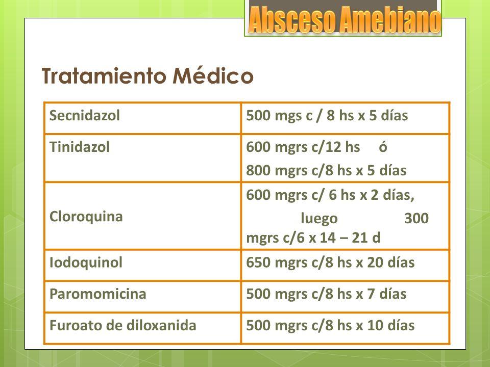 Tratamiento Médico Secnidazol500 mgs c / 8 hs x 5 días Tinidazol600 mgrs c/12 hs ó 800 mgrs c/8 hs x 5 días Cloroquina 600 mgrs c/ 6 hs x 2 días, lueg