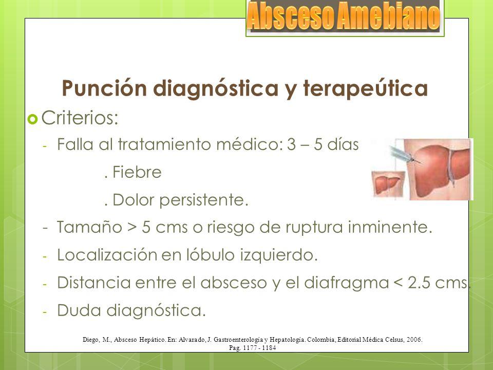 Punción diagnóstica y terapeútica Criterios: - Falla al tratamiento médico: 3 – 5 días. Fiebre. Dolor persistente. - Tamaño > 5 cms o riesgo de ruptur
