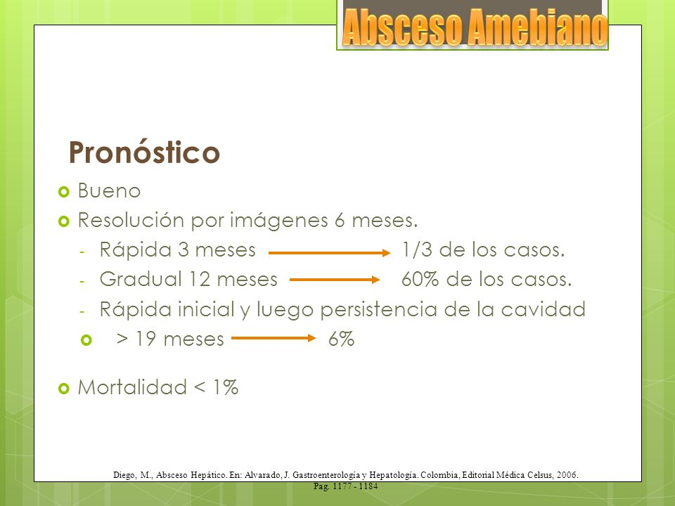 Factores de mal pronóstico Múltiples abscesos.Volumen del absceso > 500 ml.