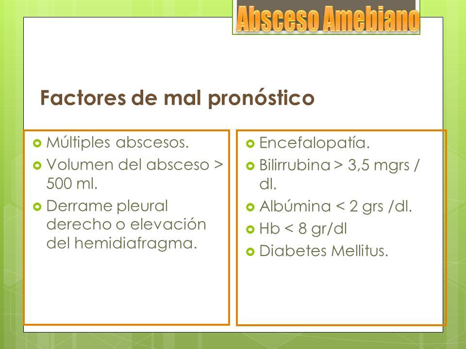 Factores de mal pronóstico Múltiples abscesos. Volumen del absceso > 500 ml. Derrame pleural derecho o elevación del hemidiafragma. Encefalopatía. Bil