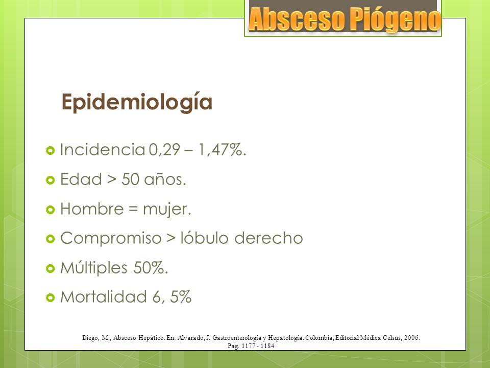 Epidemiología Incidencia 0,29 – 1,47%. Edad > 50 años. Hombre = mujer. Compromiso > lóbulo derecho Múltiples 50%. Mortalidad 6, 5% Diego, M., Absceso