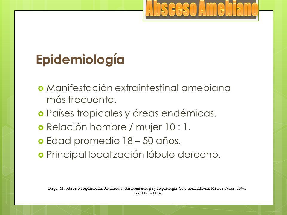 Epidemiología Manifestación extraintestinal amebiana más frecuente. Países tropicales y áreas endémicas. Relación hombre / mujer 10 : 1. Edad promedio