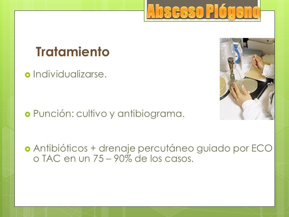 Tratamiento Individualizarse. Punción: cultivo y antibiograma. Antibióticos + drenaje percutáneo guiado por ECO o TAC en un 75 – 90% de los casos.