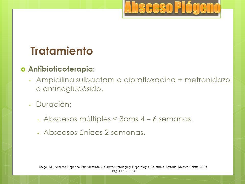 Tratamiento Antibioticoterapia: - Ampicilina sulbactam o ciprofloxacina + metronidazol o aminoglucósido. - Duración: - Abscesos múltiples < 3cms 4 – 6