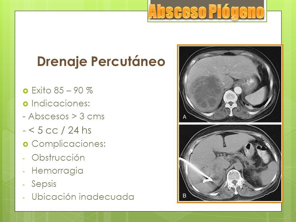 Drenaje Quirúrgico Falla del antibioticoterapia + drenaje percutáneo.