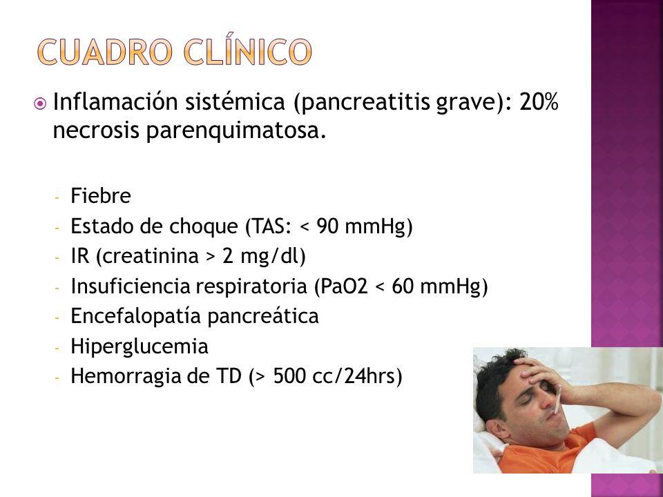 Inflamación sistémica (pancreatitis grave): 20% necrosis parenquimatosa. - Fiebre - Estado de choque (TAS: < 90 mmHg) - IR (creatinina > 2 mg/dl) - In