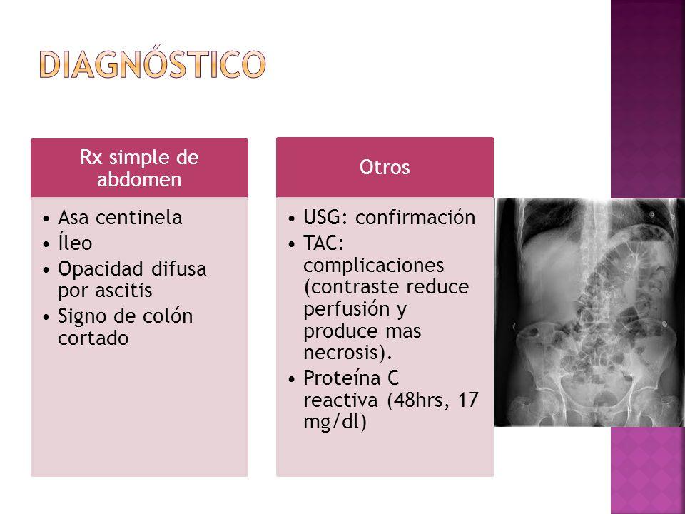 Rx simple de abdomen Asa centinela Íleo Opacidad difusa por ascitis Signo de colón cortado Otros USG: confirmación TAC: complicaciones (contraste redu