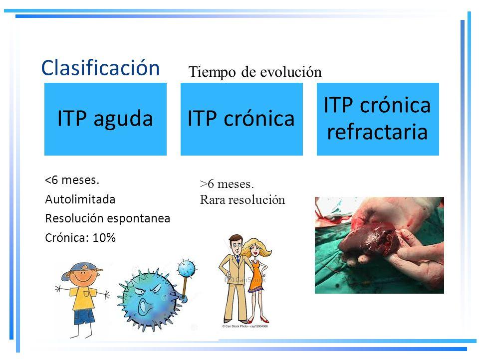 Clasificación <6 meses. Autolimitada Resolución espontanea Crónica: 10% ITP agudaITP crónica ITP crónica refractaria Tiempo de evolución >6 meses. Rar