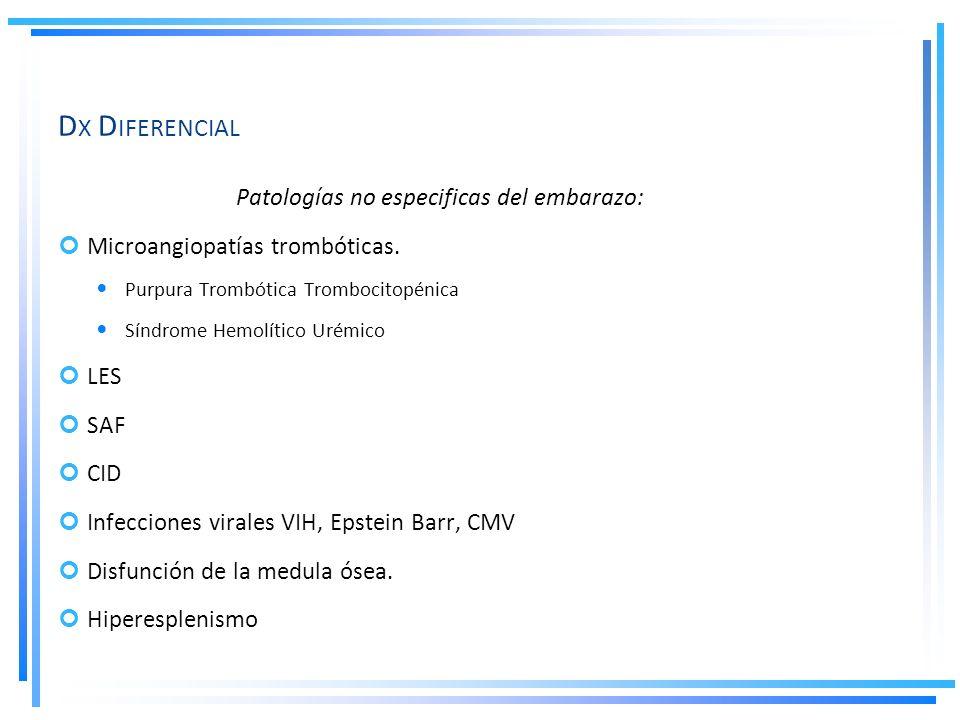 D X D IFERENCIAL Patologías no especificas del embarazo: Microangiopatías trombóticas. Purpura Trombótica Trombocitopénica Síndrome Hemolítico Urémico