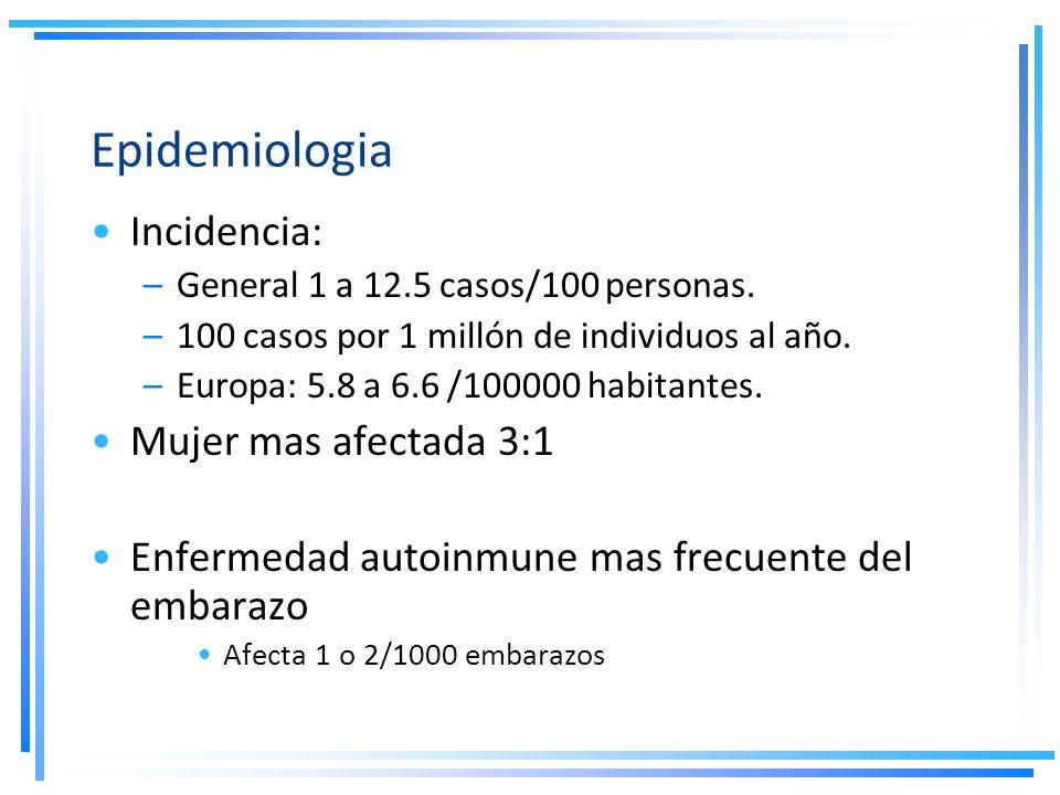 Epidemiologia Incidencia: –General 1 a 12.5 casos/100 personas. –100 casos por 1 millón de individuos al año. –Europa: 5.8 a 6.6 /100000 habitantes. M