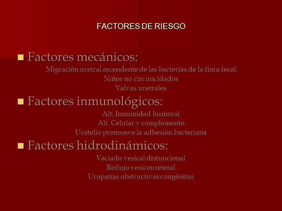 FACTORES DE RIESGO Factores mecánicos: Factores mecánicos: Migración uretral ascendente de las bacterias de la flora fecal Niños no circuncidados Valv