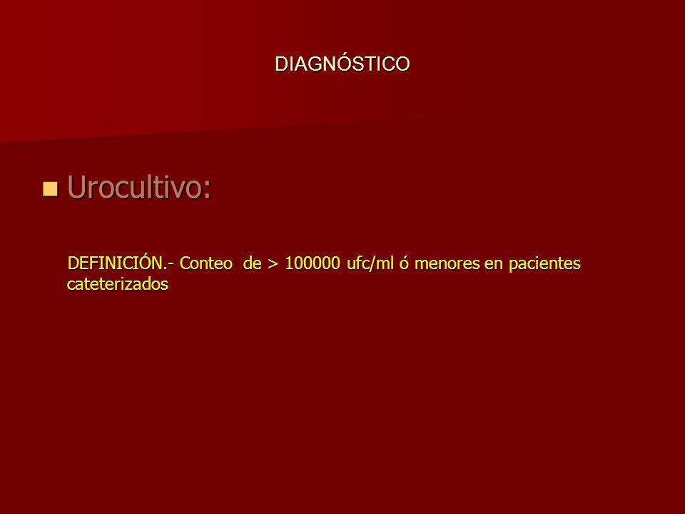 DIAGNÓSTICO Urocultivo: Urocultivo: DEFINICIÓN.- Conteo de > 100000 ufc/ml ó menores en pacientes cateterizados DEFINICIÓN.- Conteo de > 100000 ufc/ml