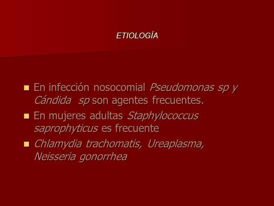 FACTORES BACTERIOLÓGICOS La mayoría de los gérmenes corresponden a enterobacterias: La mayoría de los gérmenes corresponden a enterobacterias: 1.Escherichia coli ……….70% 2.Estafilococos y enterococos……22% 3.Otras enterobacterias :……8% Pseudomonas sp.