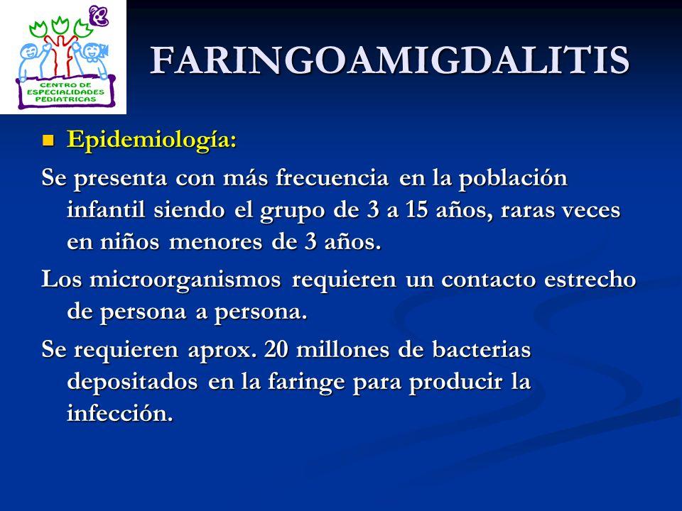 FARINGOAMIGDALITIS Epidemiología: Epidemiología: Se presenta con más frecuencia en la población infantil siendo el grupo de 3 a 15 años, raras veces e