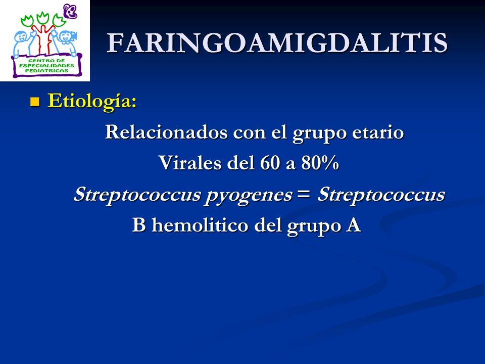 FARINGOAMIGDALITIS Etiología: Etiología: Relacionados con el grupo etario Relacionados con el grupo etario Virales del 60 a 80% Virales del 60 a 80% S