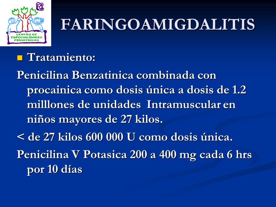 FARINGOAMIGDALITIS Tratamiento: Tratamiento: Penicilina Benzatinica combinada con procainica como dosis única a dosis de 1.2 milllones de unidades Int