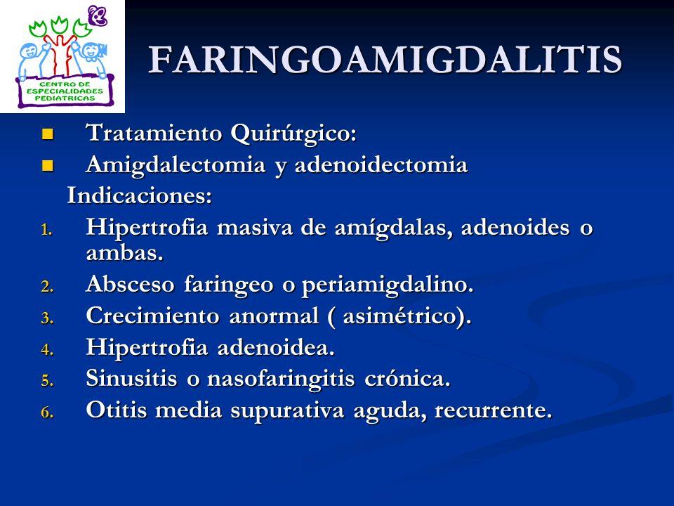 FARINGOAMIGDALITIS Tratamiento Quirúrgico: Tratamiento Quirúrgico: Amigdalectomia y adenoidectomia Amigdalectomia y adenoidectomia Indicaciones: Indic